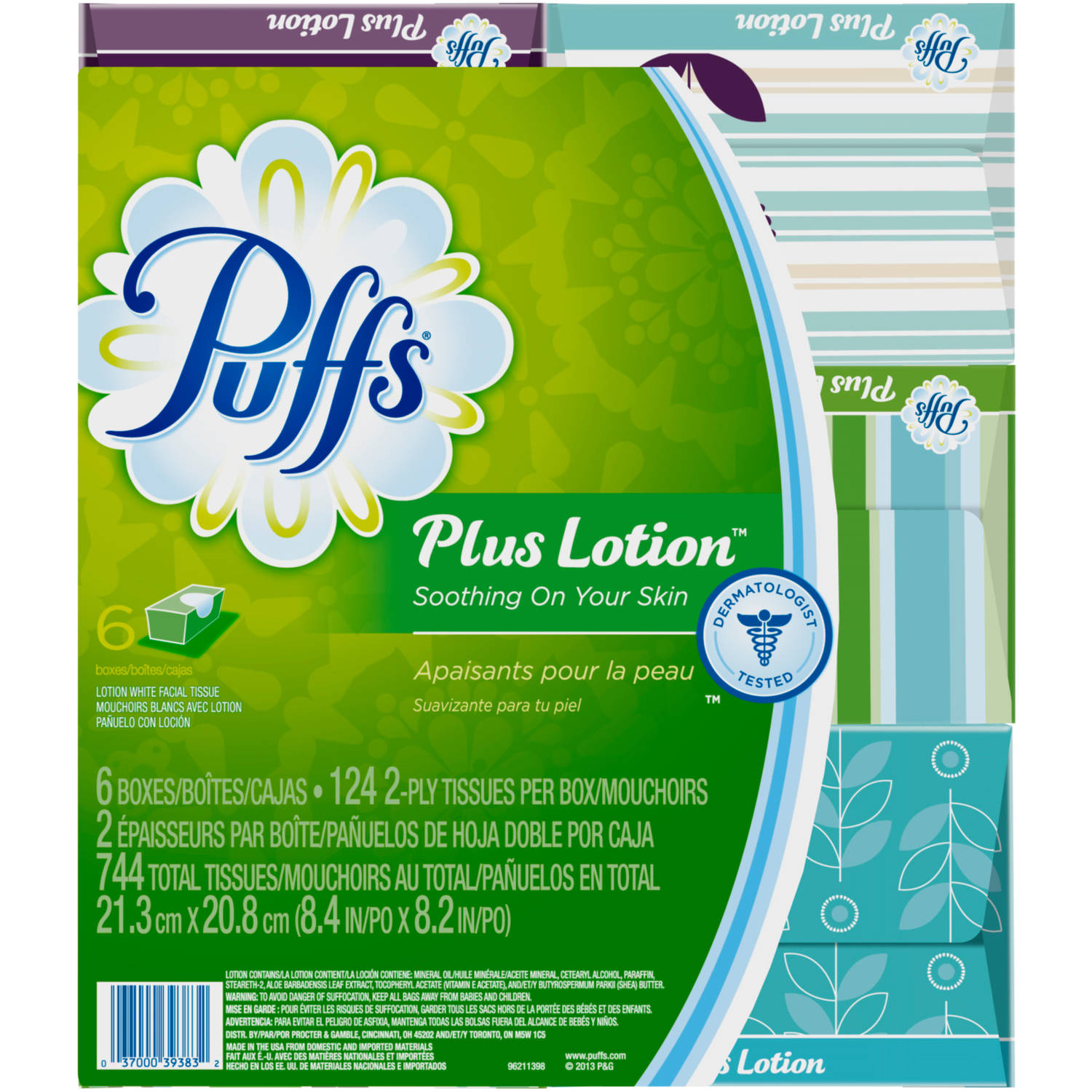 Puffs White Facial Tissues Plus Lotion, 124 sheets, 6 count
