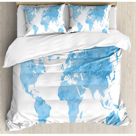 Map Duvet Cover Set, Blue Watercolor Style World Map Artistic Pastel  Colored Display of Continents, Decorative Bedding Set with Pillow Shams,  Pale ...