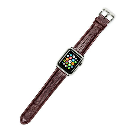 Apple Watch Strap - Teju Lizard Grain Watch Band - Brown - Fits 38mm Series 1 & 2 Apple Watch [Silver Adapters]