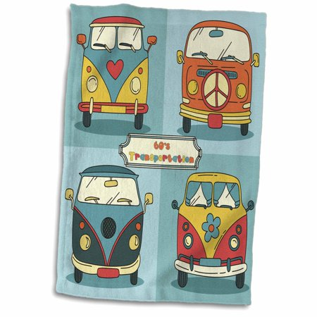 3dRose Four Sixties Vans for Hippies Retro Colors - Towel, 15 by 22-inch - Sixties Hippie Fashion