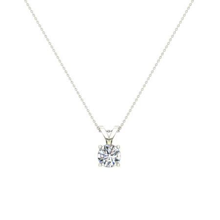 5/8 ct tw SI1 G Natural Round Brilliant Diamond Solitaire Pendant Necklace 14K White Gold (Si1 Round Solitaire)