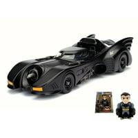 Diecast Car & Batman Figurine Package - 1989 Batman Returns Batmobile, Black - Jada 98263 - 1/24 Scale Diecast Model Toy Car w/Batman Figurine