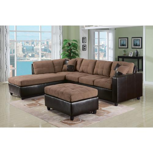 Acme Milano Reversible Sectional Sofa in Chocolate Easy Rider and Espresso PU by Overstock
