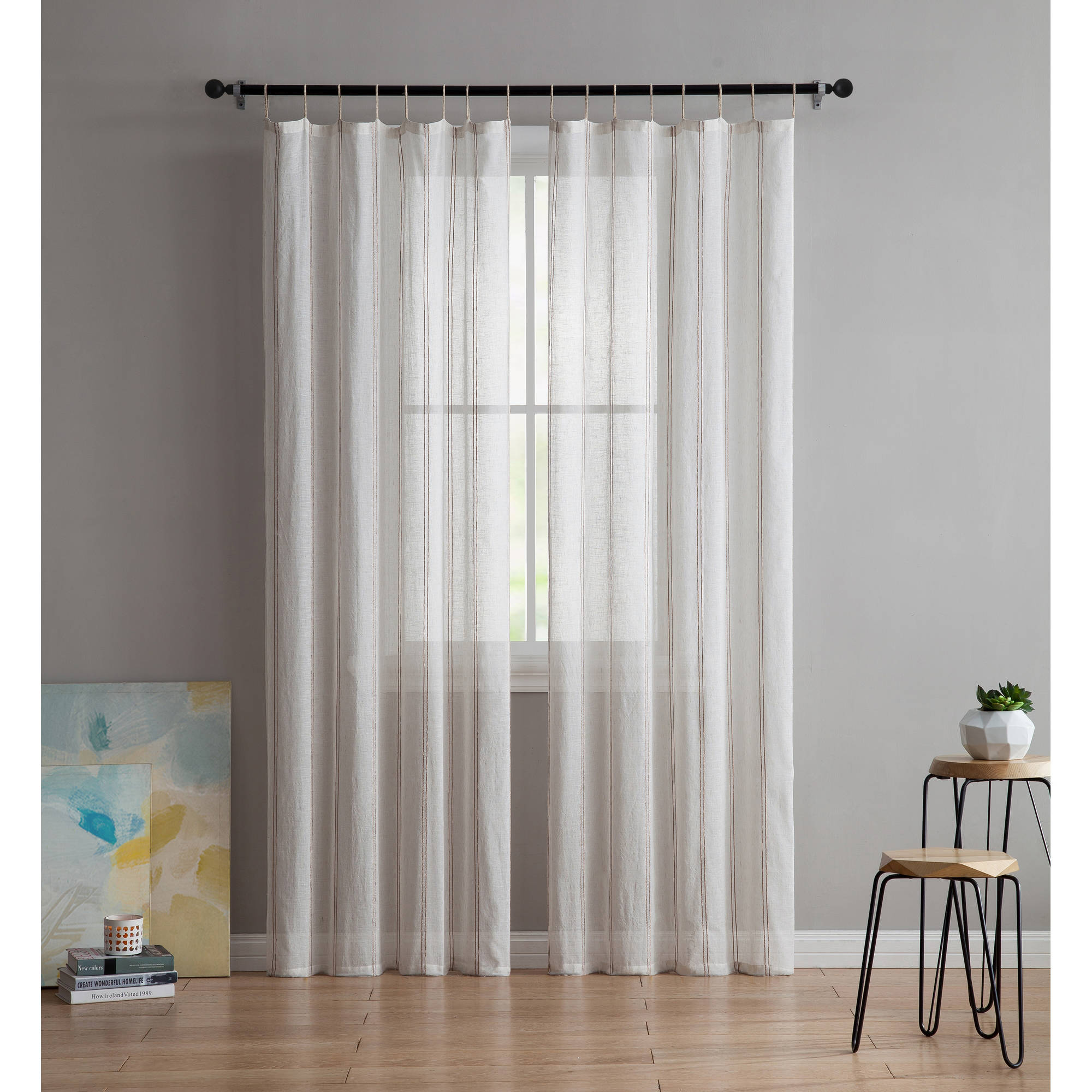 VCNY Home 2-Tone Shaina Sheer Burlap Rope Window Curtain Panel, Set of 2, Multiple Sizes Available by Victoria Classics