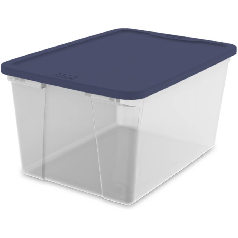 Bluehomz Solutions: Homz 56 Qt. Plastic Storage Tote, Clear/Cobalt Blue (Set