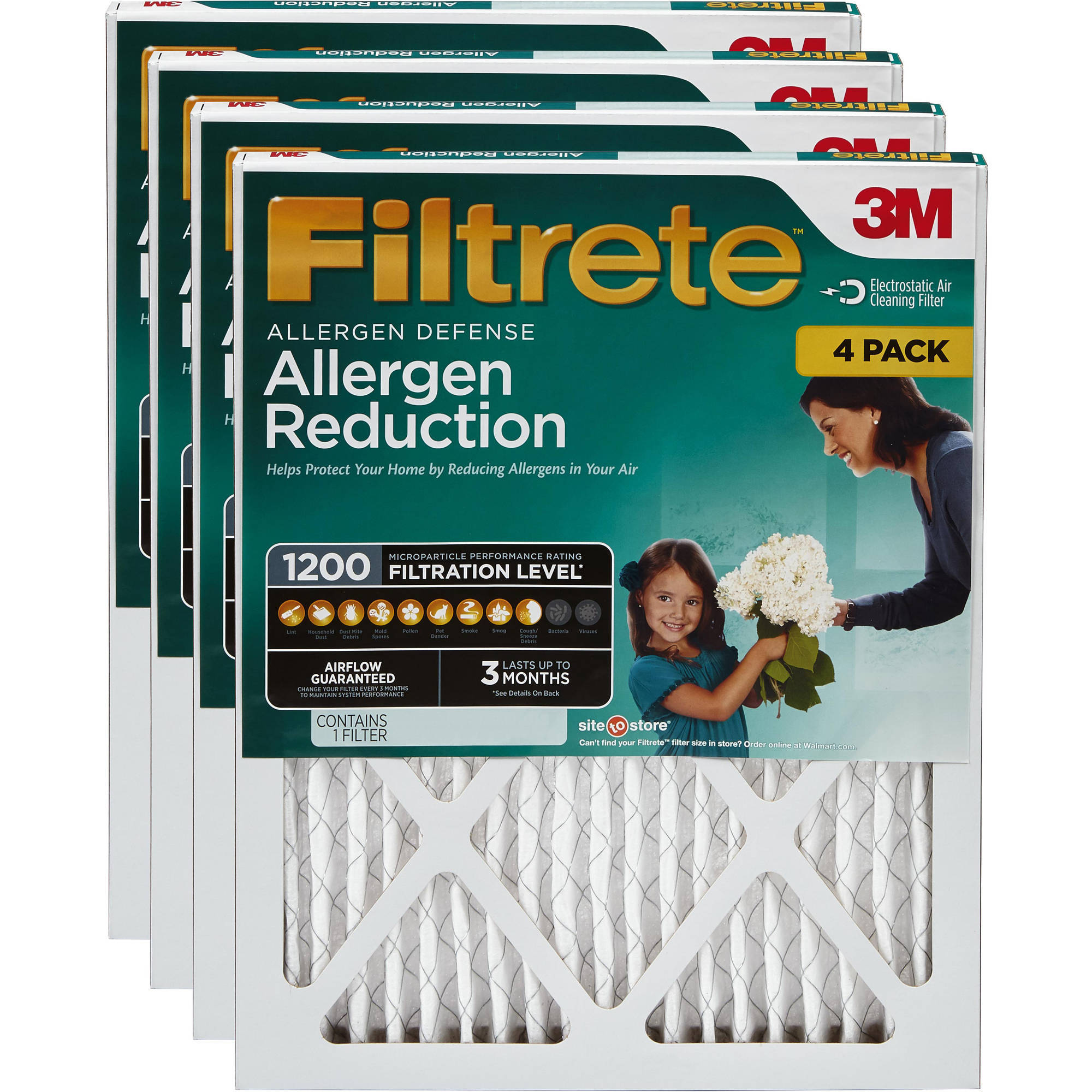 Filtrete Allergen Reduction 1200 Air and Furnace Filter, 4-pack, Available in Multiple Sizes<br />