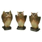 See, Hear, Speak No Evil Brown Owl Shelf Sitter Computer Top Sitters