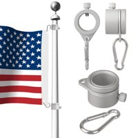 EEEKit Aluminum Flagpole Rotating Rings, Rotating 360° Anti Wrap Spinning Flag Pole Mounting Rings Clips with Carabiner for 1 Inch Diameter Flag Pole - Tangle Free, Silver, Pack of 2