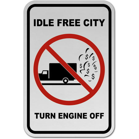 Traffic Signs - Idle Free City Turn Off Engine Sign 12 x 18 Magnet Sign Street Weather Approved