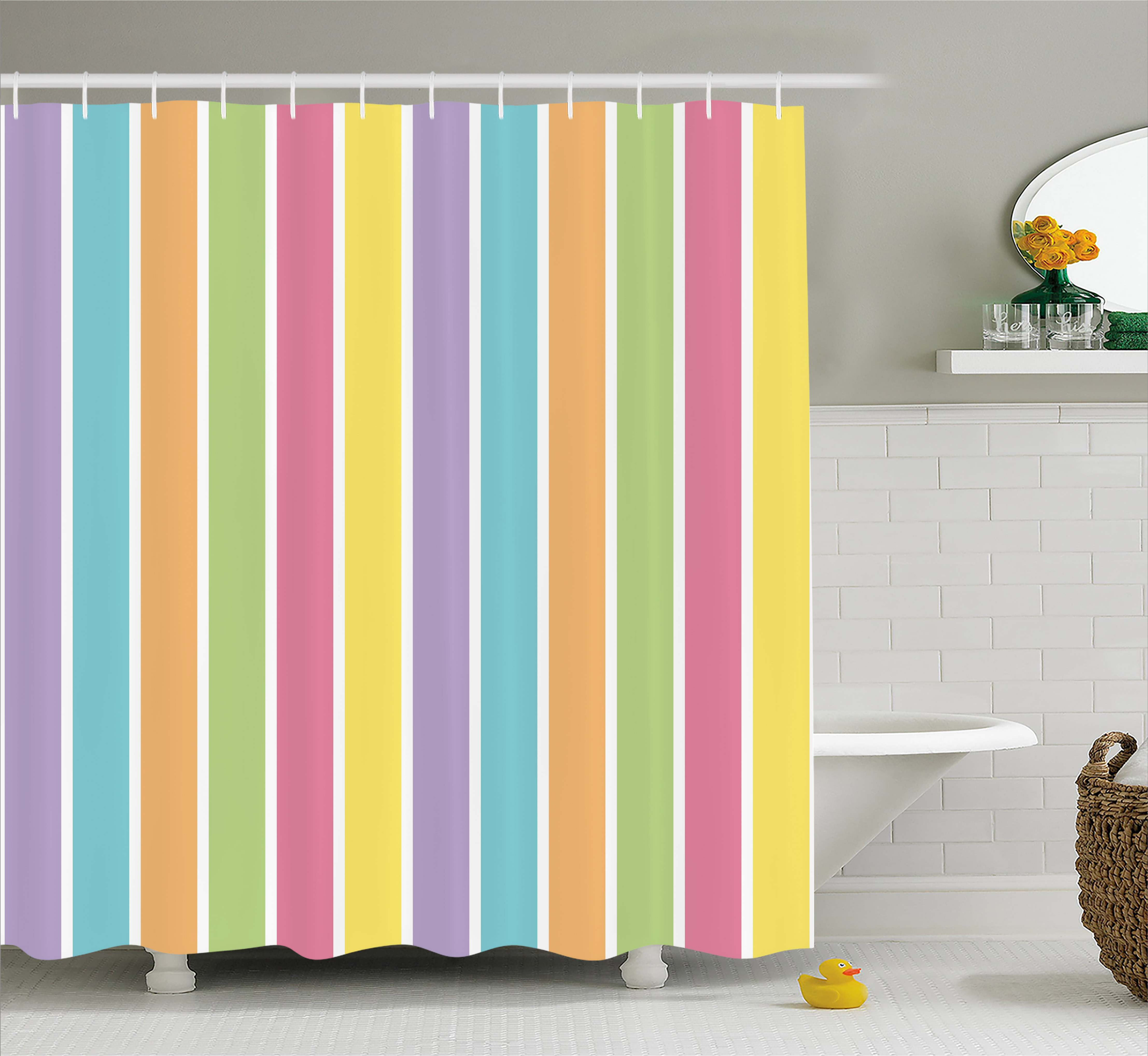 Colorful Shower Curtain, Pastel Colored Striped Summer Pattern Funky Cheerful Rainbow Inspired Traditional, Fabric Bathroom Set with Hooks, 69W X 75L Inches Long, Multicolor, by Ambesonne