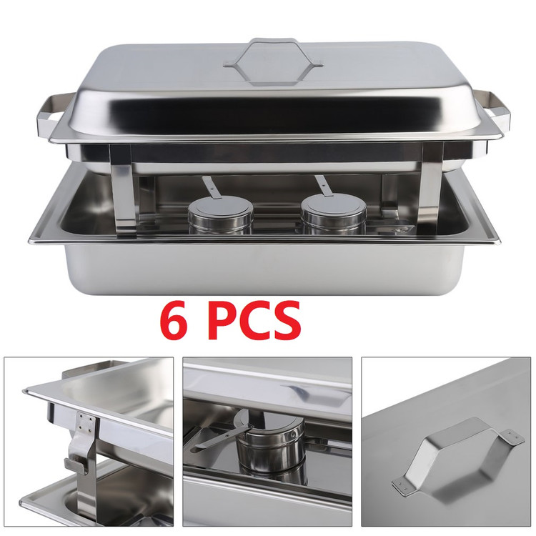 6 Pack Chafing Dish Buffet Set 8 Quart Rectangle Stainless Steel Buffet Catering Food Warmer Kits,Have Fun... by YY
