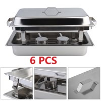 6 Pack Chafing Dish Buffet Set 8 Quart Rectangle Stainless Steel Buffet Catering Food Warmer Kits,Have Fun with Friends by Food Warmers