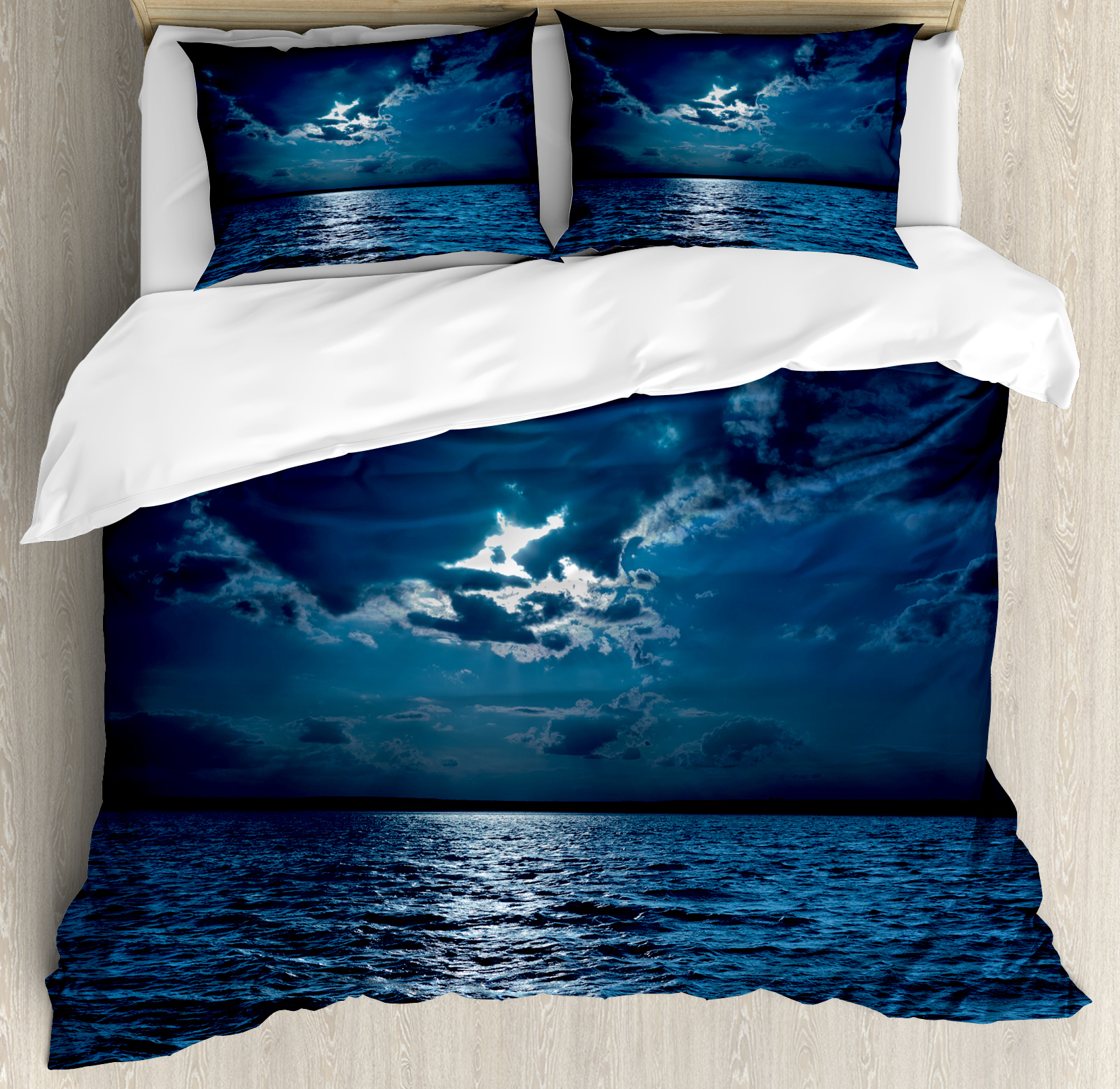 Night King Size Duvet Cover Set, Majestic Dramatic Sky Cl...