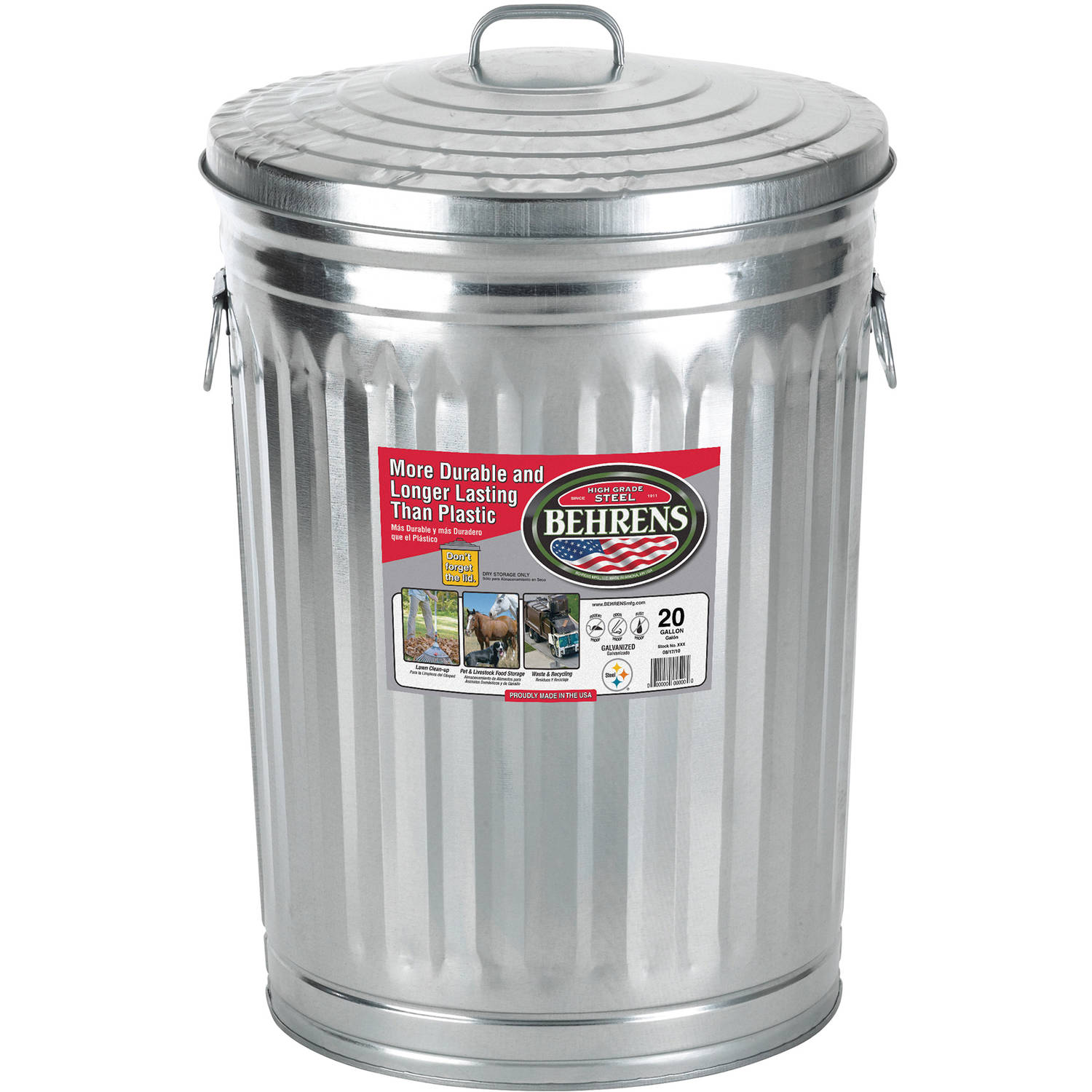 Click here to buy Behrens High Grade Steel 1211 20 Gal Silver Galvanized Steel Trash Can with Lid by Behrens.