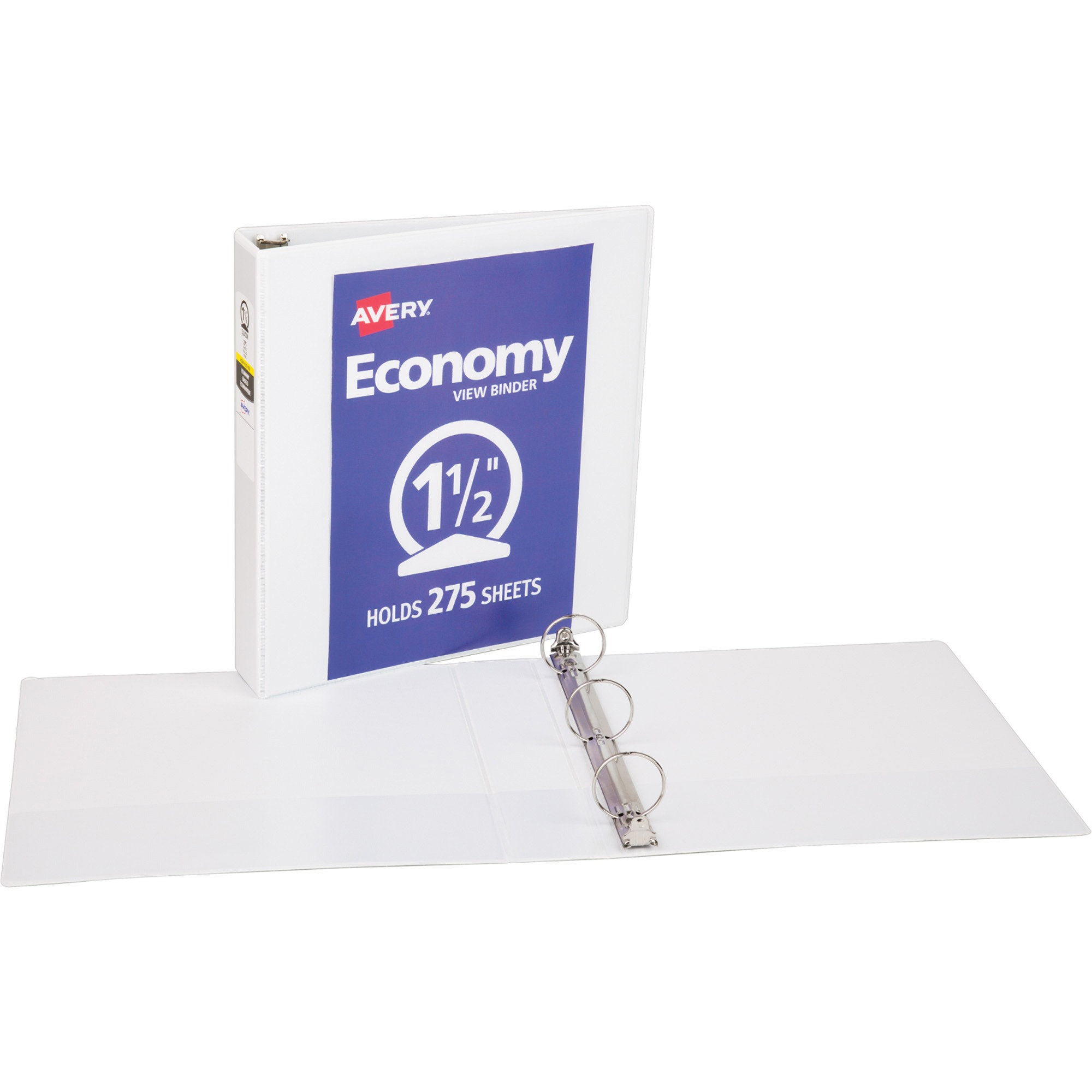 "Avery(R) Economy View Binder with 1-1/2"" Round Ring 5726, White"