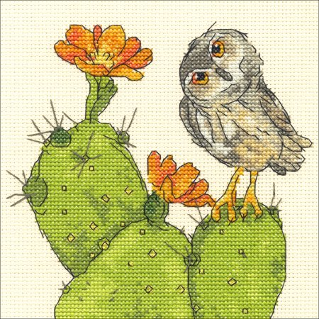 Dimensions Counted Cross Stitch Kit 'Prickly Owl' Cactus Pattern, 14 Count Ivory Aida Cloth, 6'' x 6'' Subversive Cross Stitch Patterns