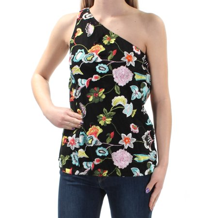 INC Womens Black Embroidered Floral Sleeveless Asymetrical Neckline Top  Size: (Embroidered Blank)