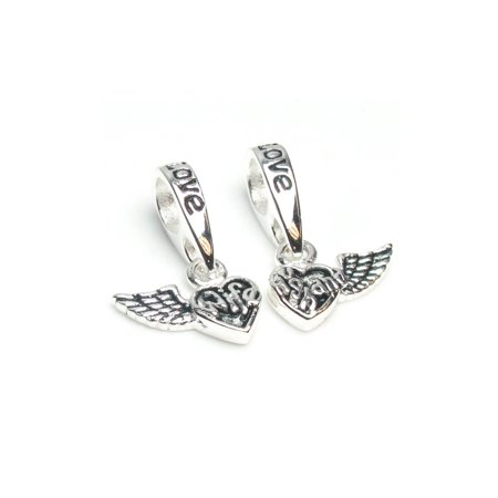 Sterling Silver Wife & Husband Forever Love Wing Heart Dangle Bead Charm Fits Pandora