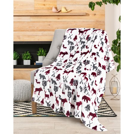 Throw Blanket Flannel Printed Ribbed Moose & Bear Baby (Bear Skin Blanket)
