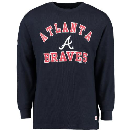 Men's Stitches Navy Atlanta Braves Wordmark Thermal Long Sleeve T-Shirt