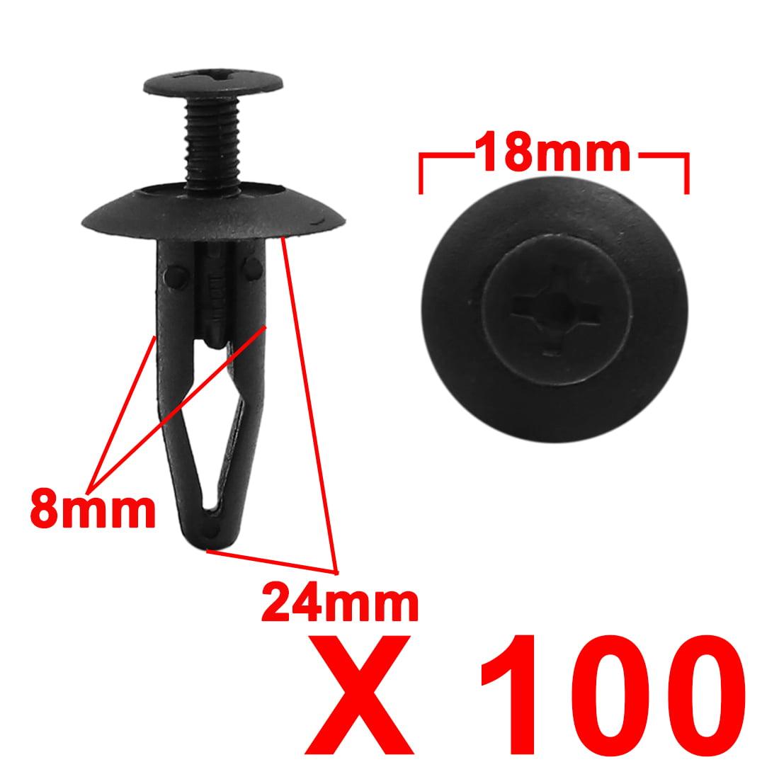 100pc 8mm Trou Noir Car Porte Panneau Aile Bouclier Rivet Plastique Poussez axe - image 1 de 2