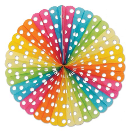 Club Pack of 12 Multi-Colored Hanging Polka Dot Tissue Fan Party Decorations 25
