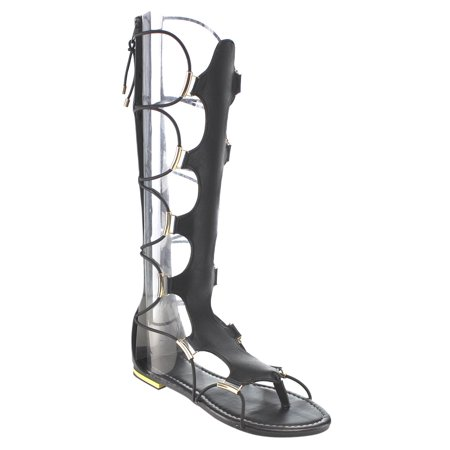 Beston Women's DC05 Cut Out Back Zipper Thong Flat Knee High Gladiator Sandals (Leather Cut Out Platform)