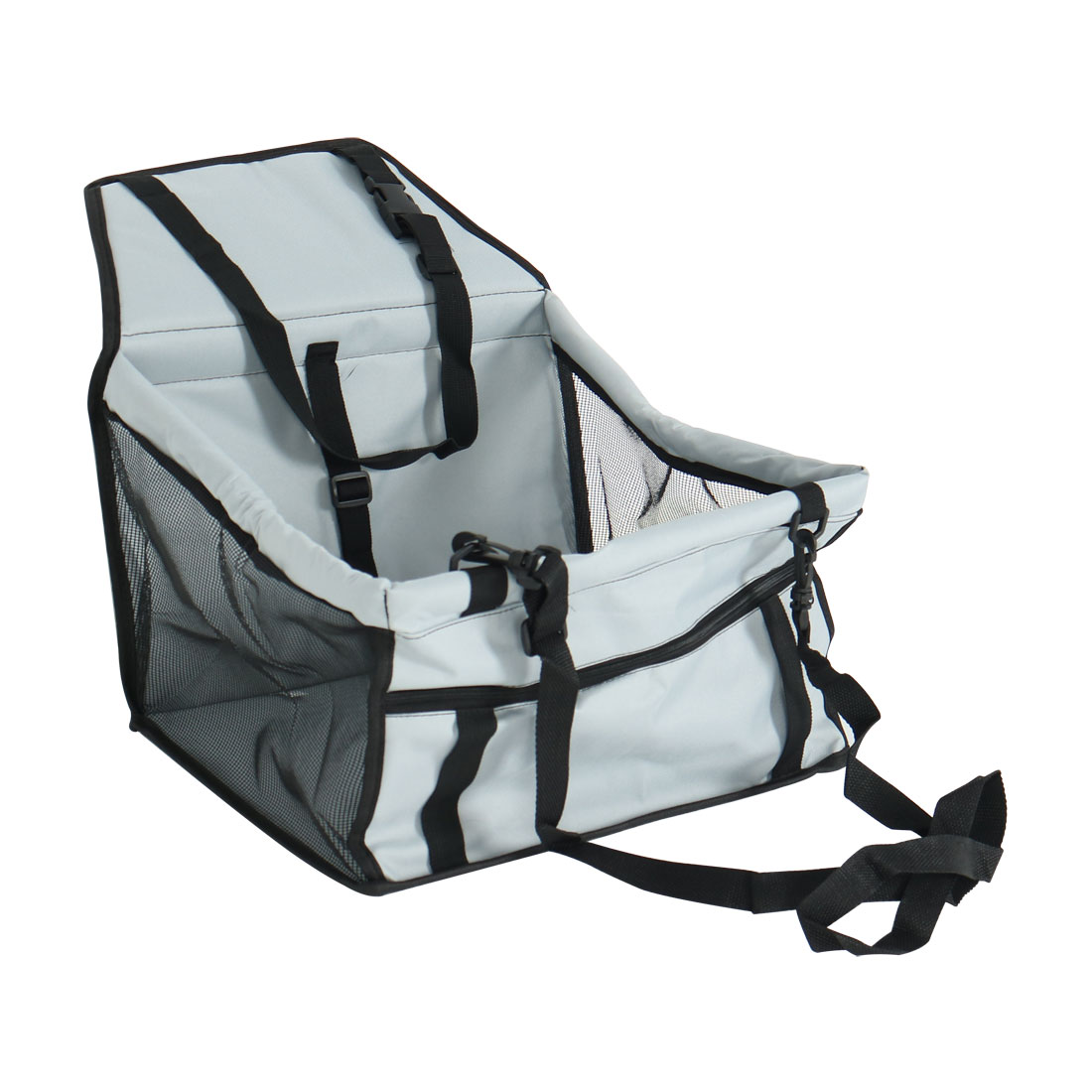 Car Booster Seat Dog Carrier Portable Folding Holder Protector Light Gray