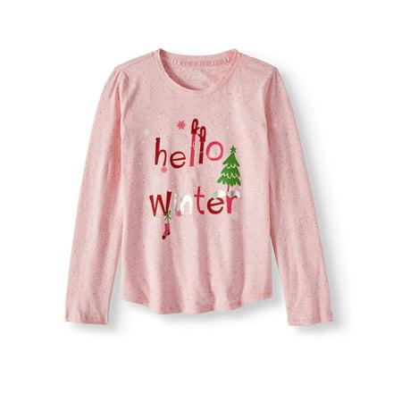 Wonder Nation Holiday Graphic Long Sleeve T-shirt (Little Girls & Big Girls)