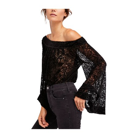 Free People Womens Ginger Berry Of The Shoulder Knit Blouse mulledwinecmb XS - image 1 of 1