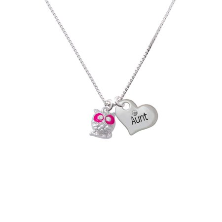 Eyed Owl Pendant - Silvertone Owl with Hot Pink & Clear Crystal Eyes Aunt Heart Necklace