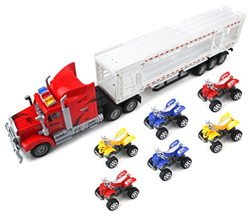 Best Power Transporter Trailer Children's Friction Toy Semi Truck Ready To Run w  6 Toy... by Velocity Toys