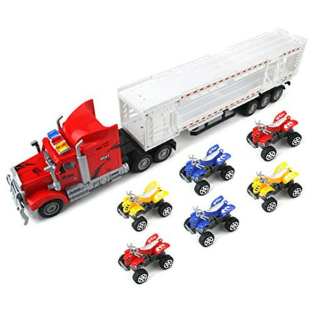 Best Power Transporter Trailer Children's Friction Toy Semi Truck Ready To Run w/ 6 Toy ATVs (Colors May
