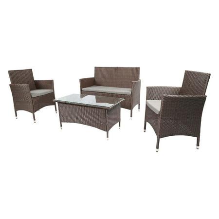 Better Garden Wicker 4 Piece Patio Conversation Set with Cushions ()