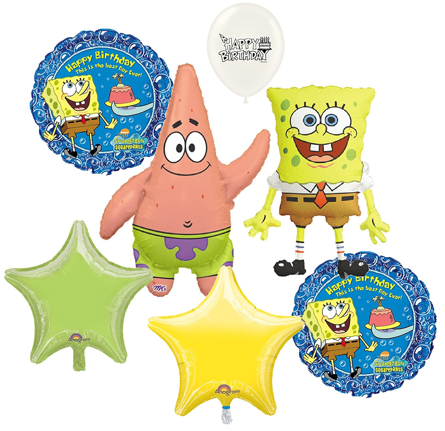 Spongebob Squarepants and Patrick Birthday Party Balloons Bouquet