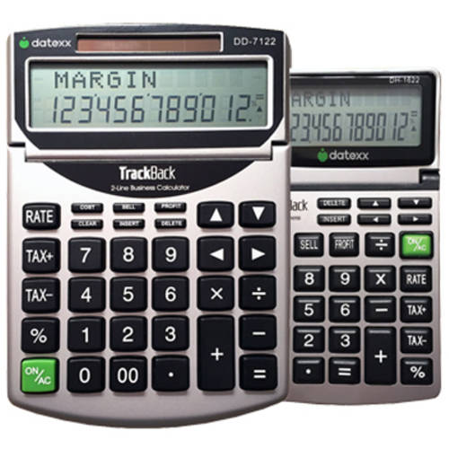 Datexx Combo Pack: DD-7122 TrackBack Desktop Calculator and DH-1622 TrackBack Handheld Calculator