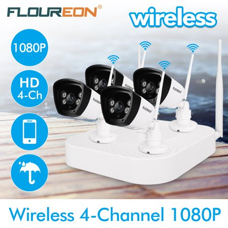 FLOUREON 4CH Wireless CCTV 1080P DVR Kit, Outdoor Wifi WLAN 720P 1.0MP IP Camera Security Video Recorder NVR