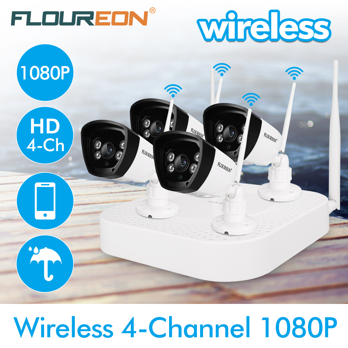 FLOUREON 4CH Wireless CCTV 1080P DVR Kit, Outdoor Wifi WLAN 720P 1.0MP IP Camera Security Video Recorder NVR System