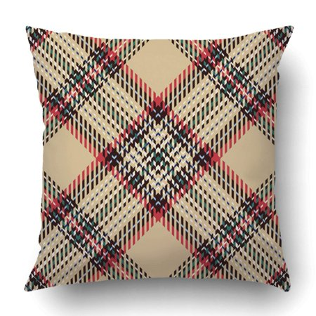 ARTJIA Tartan Red Black Blue Beige Green and White Plaid Pillowcase Throw Pillow Cover Case 20x20 inches
