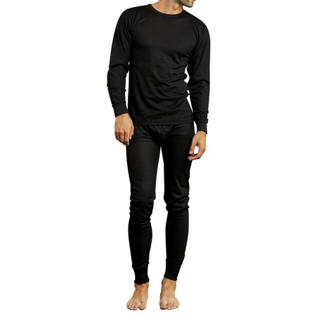 Small Thermal - 2 Piece Men's Thermal Waffle Knit Underwear Set Top and Bottom - Black Small