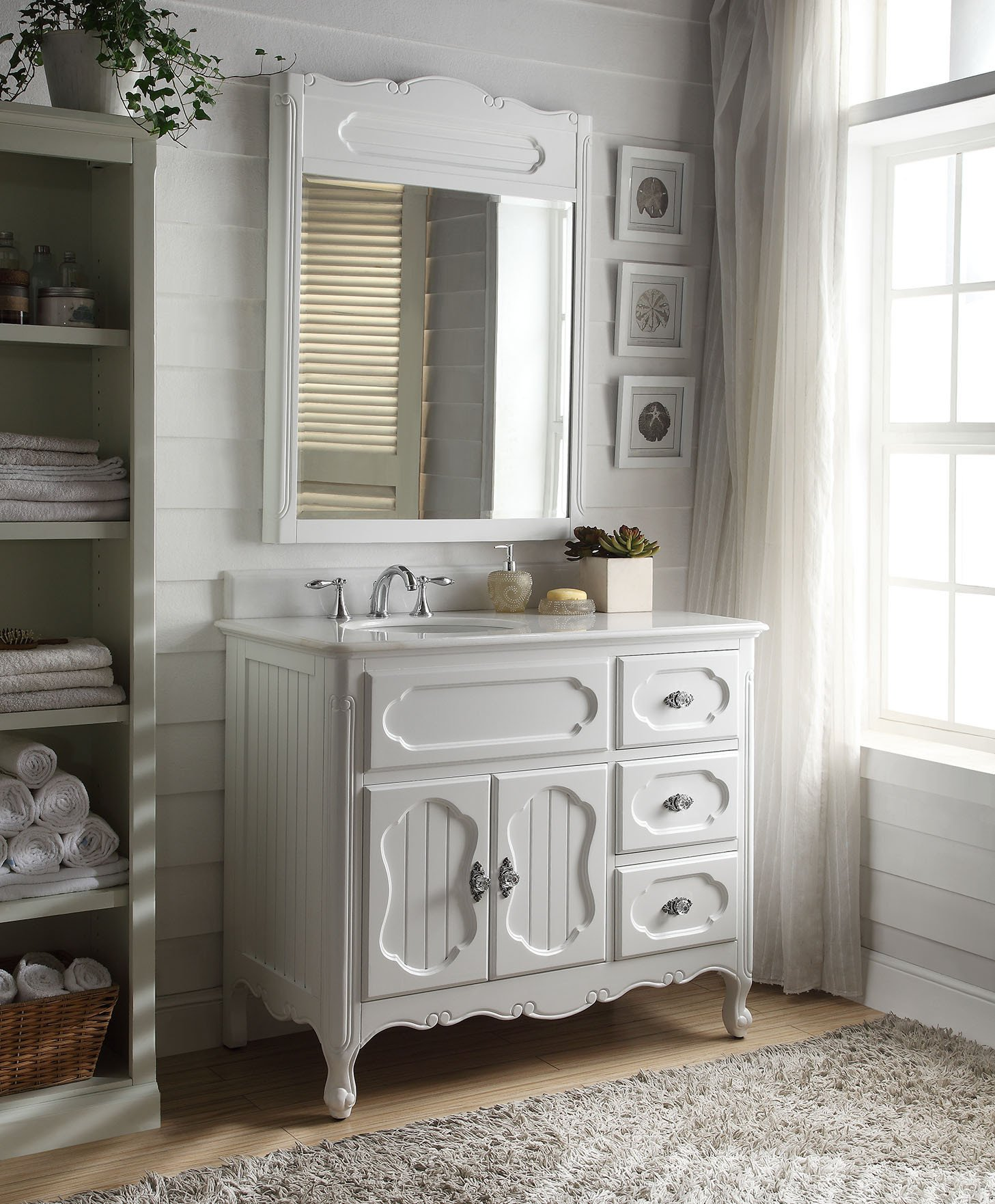 42 Benton Collection Knoxville White Victorian Bathroom Vanity With Mirror Gd 1509w 42 Bs Mir Walmart Com Walmart Com