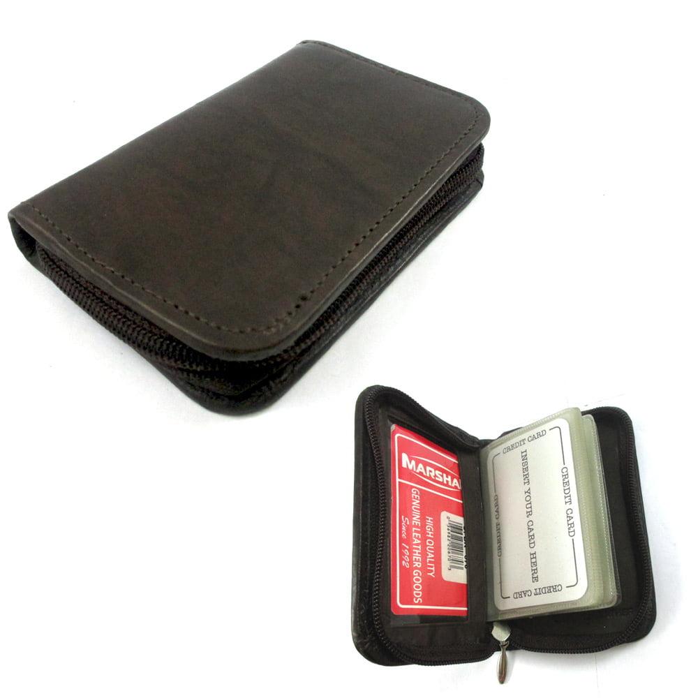 Mens Genuine Leather Zippered Credit Card Wallet Holder
