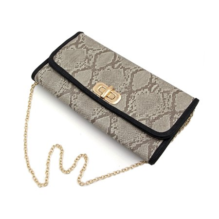 Premium Snakeskin PU Leather Turnlock Flap Handbag Clutch
