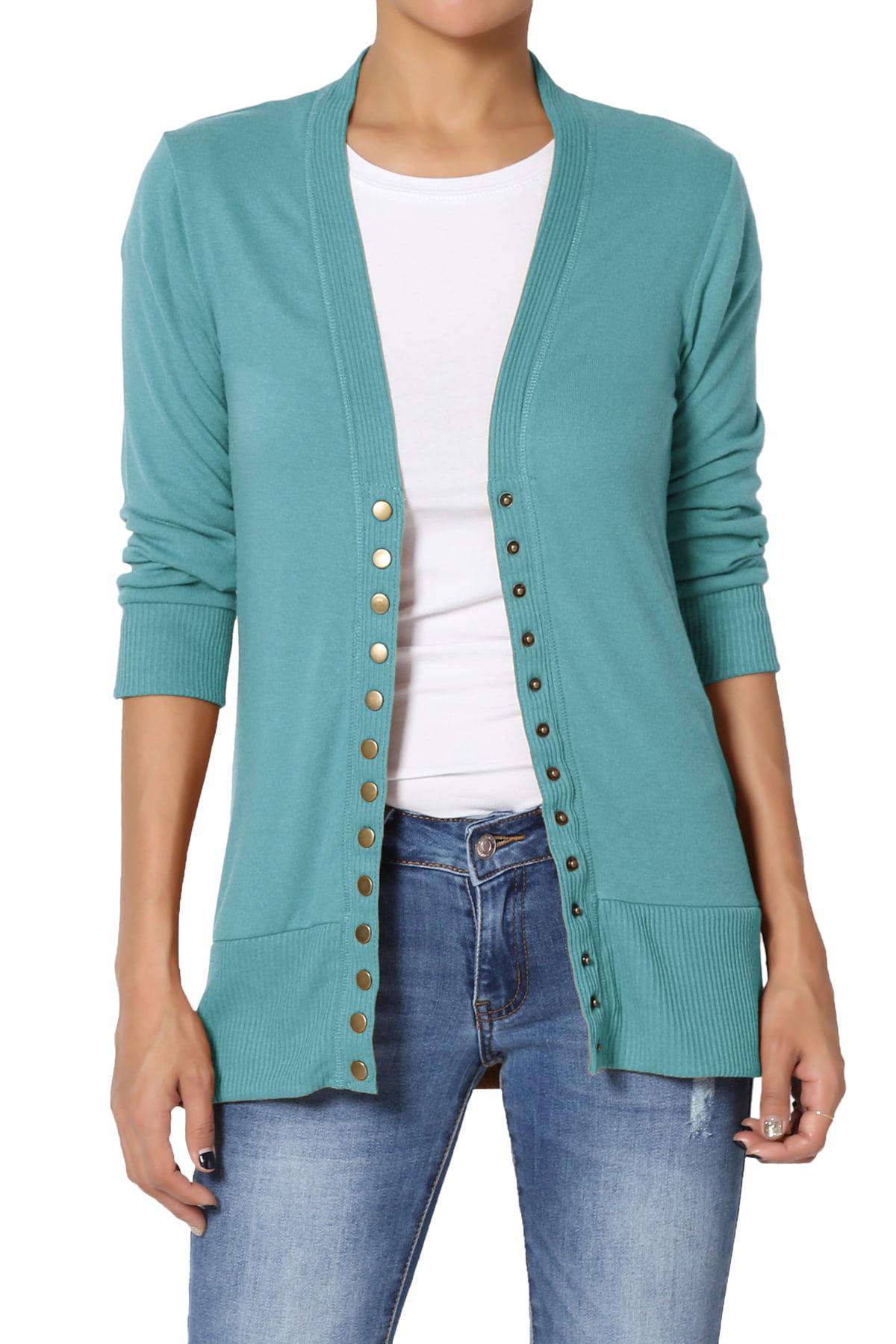 TheMogan TheMogan Women's S~3X Basic Snap Button V Neck 34 Sleeve Knit Cardigan