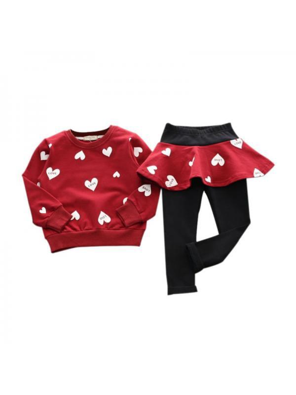1-6T Toddler Girls Long Sleeve Shirt+Pantskirt Culotte Leggings Casaul Clothing Color : Pink+GRAY, Size : 4-5T