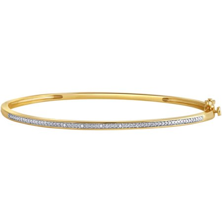 Diamond Accent 14K Yellow Gold Plated Brass Fashion Bangle