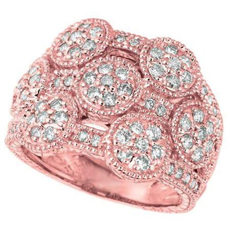 Harry Chad Enterprises HC11623-6 1.26 CT 14K Pink Gold Round Brilliant Diamond Prong Setting Wedding Ring Brilliant Diamond Setting 4 Prong