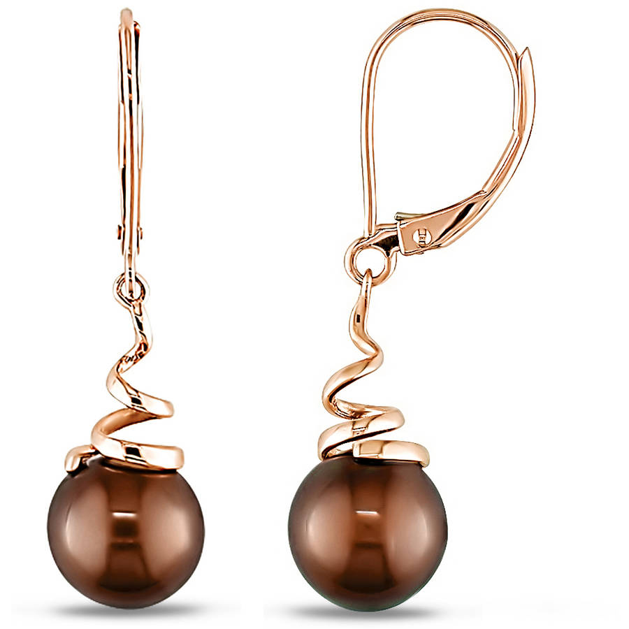 8-8.5mm Chocolate Cultured Freshwater Pearl 14kt Yellow Gold Leverback Swirl Earrings