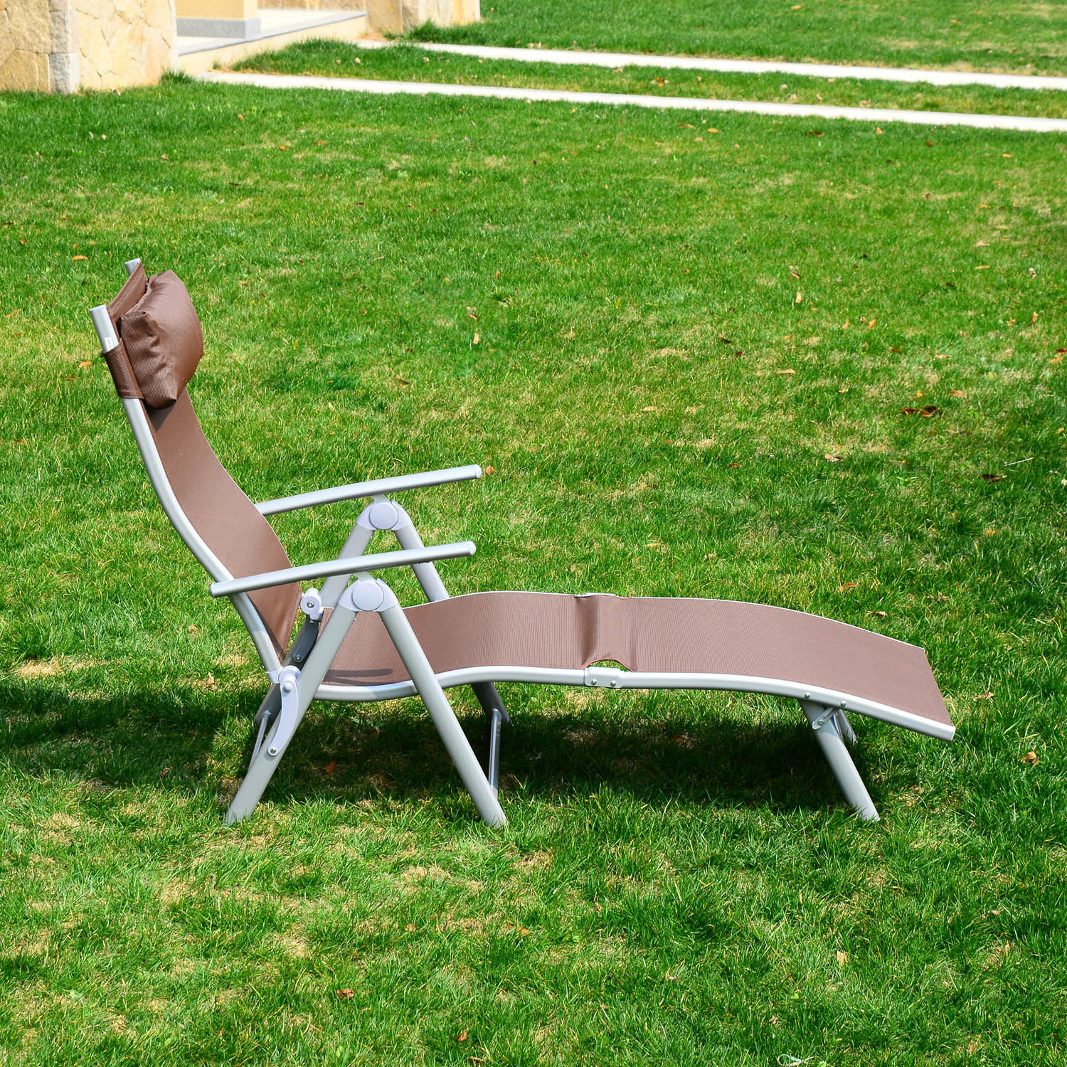 outsunny patio reclining chaise lounge chair with cushion brown and silver walmartcom