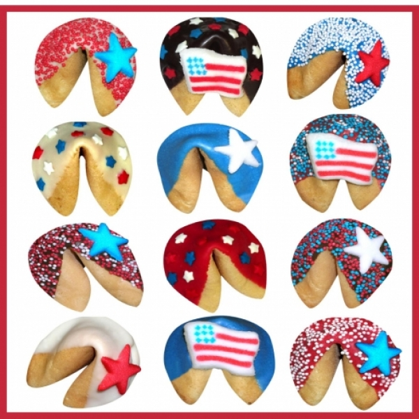 4th Of July Chocolate Dipped Fortune Cookies by